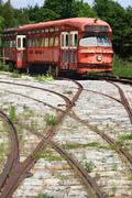 Railway interurban public transportation, streetcar, tram. Stock Photos