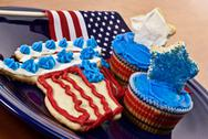 Stock Photo of Patriotic american party food