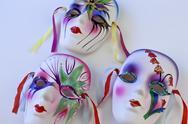 Three mardi gras masks Stock Photos