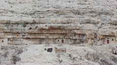 Monks' cells in the rock of Kidron valley, Saint Savas monastery near Jerusalem, Stock Footage