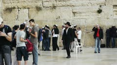 Western wall in Jerusalem, Israel in the holiest place in judaism Stock Footage