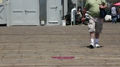 Stock Video Footage of Obese man walking toward camera