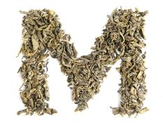 Green tea alphabet Stock Photos