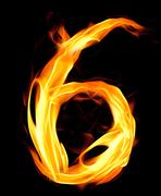 Fiery number six Stock Illustration