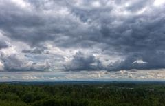 Heavy clouds over an dense forest Stock Photos