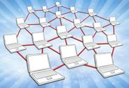 Stock Illustration of computer network sky background