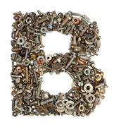 alphabet made of bolts - the letter b - stock photo