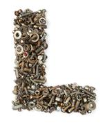 alphabet made of bolts - the letter l - stock photo