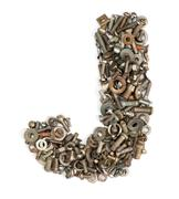 alphabet made of bolts - the letter j - stock photo