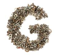 alphabet made of bolts - the letter g - stock photo