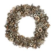 alphabet made of bolts - the letter o - stock photo