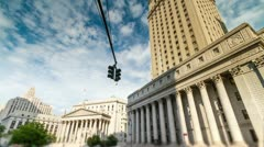 Foley Square Beautiful Time-Lapse Courthouse in Manhattan New York City USA Stock Footage