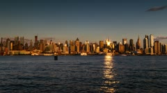 New York City Timelapse East River Manhattan Skyline NYC Day to Night USA 4K - stock footage
