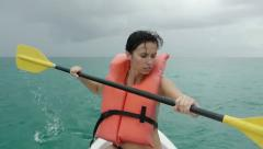 Kayaker lost at the sea Stock Footage