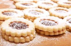 linzer cookies - stock photo