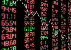 Stock market down Stock Photos