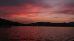Sunset in small port of Stavros Stock Footage