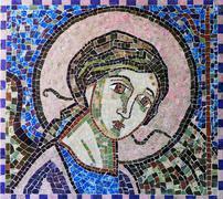 Christian mosaic icon made of semiprecious stones Stock Photos