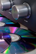 amplifier and compact discs - stock photo