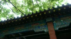 Chinese ancient building,carved-beams & painting-houses,breeze blowing leaves. Stock Footage