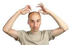young funny bald man - stock photo