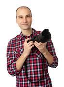 man with professional camera - stock photo