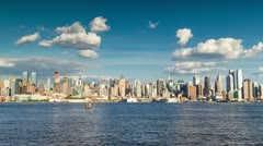 Beautiful Timelapse New York City Manhattan Skyline Day to Night 24 Hours Sunset - stock footage