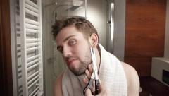Man's bathroom routine Stock Footage