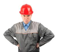 Construction worker looking serious Stock Photos