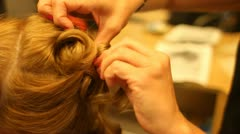 CU Blonde Girl Having Hair Done at Salon By Stylist - stock footage