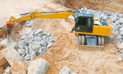 Stock Photo of yellow excavator