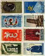italian stamps - stock photo