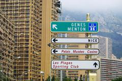 Stock Photo of Direction signs on a post in Monte Carlo