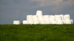 Farmland landscape with hay bales Stock Footage