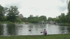 Girl by Boston Swan Boats - stock footage