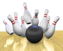 bowling strike - stock illustration