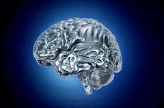 Chrome brain profile Stock Illustration