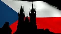 Tyn Church Prague with rippling Czech Flag animation Stock Footage