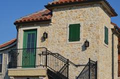 House with Green Door Stock Photos