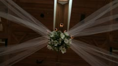 Flower Decorations Hanging From Ceiling Pan Around Stock Footage