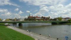 Vistula riverside during cracovia marathon Stock Footage