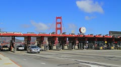 Timelapse of Golde Gate Bridge Toll Booth with bridge in the background Stock Footage