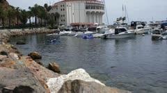 The Casino and Marina at Catalina Island, California Stock Footage