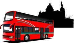 london double decker  sightseeing red bus - stock illustration