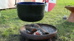 Medieval Footage Elements - Pot over open Fire II Stock Footage