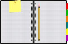 Black notebook open on white background with clipped yellow none. vector illu Stock Illustration