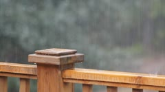 Rain On A Wooden Fence In A Garden Stock Footage
