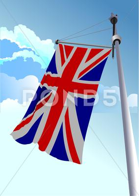 Stock Illustration of vector stylish waving united kingdom flag
