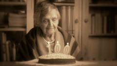 Grandmother's 100th birthday sepia stylized Stock Footage