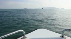 HD - Floating boat on an inlet of the Taiwan Strait Stock Footage